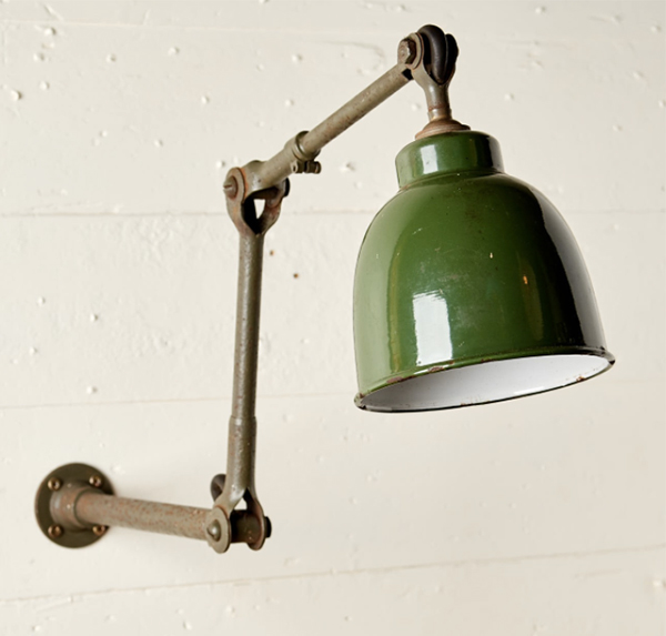 Vintage 1930s Dugdill green wall mounted light