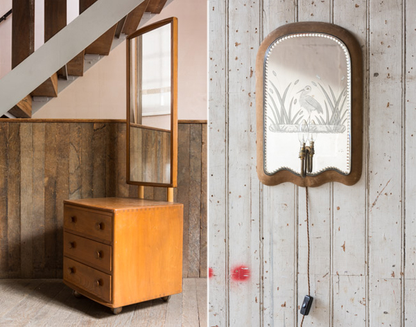 Vintage Midcentury Ercol dressing table and vintage etched mirror sconce