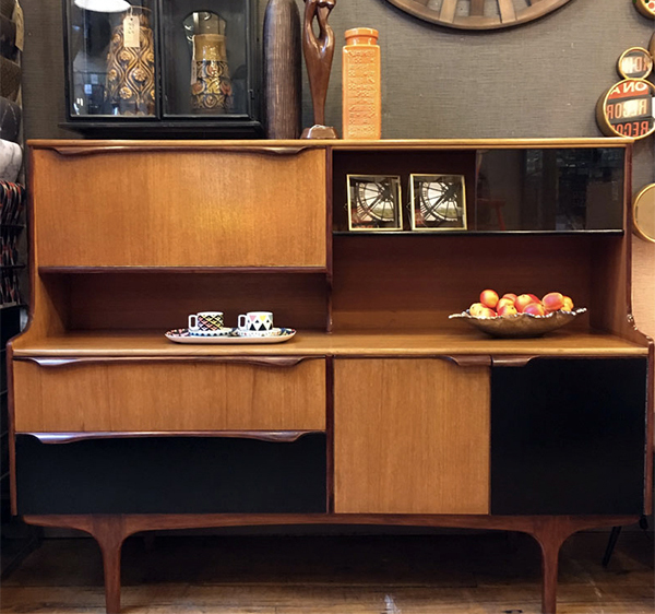 Vintage homeware on a 1960s teak sideboard