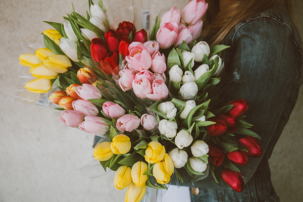 girl holding several bunches of different coloured tulips