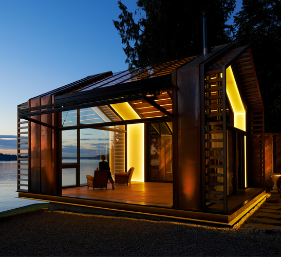 modern lakeside holiday cabin