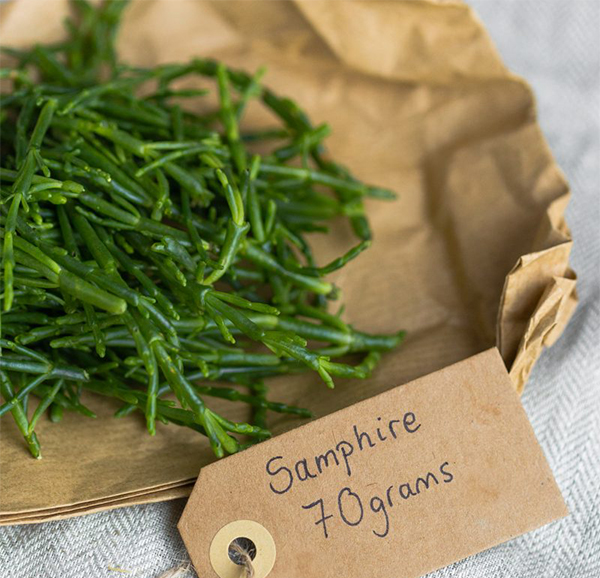 samphire on paper bag with handwritten label