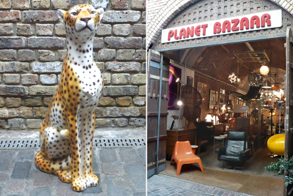 vintage 1960s ceramic sitting cheetah sculpture and shopfront of Planet Bazaar
