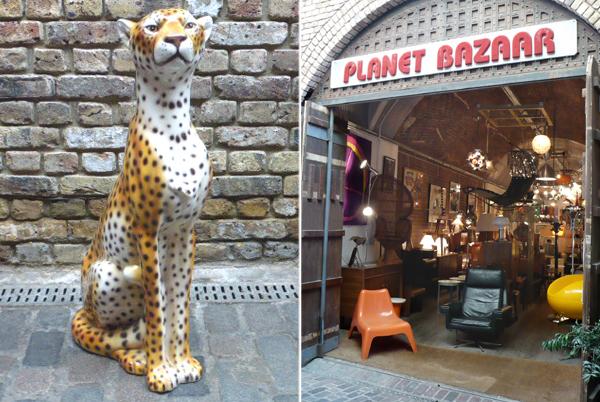 vintage 1960s ceramic sitting cheetah sculpture and shopfront of Planet Bazaar