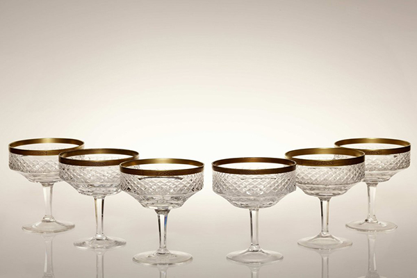 vintage 1960s lead crystal champagne bowls