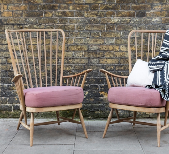 vintage Ercol chairs on the street
