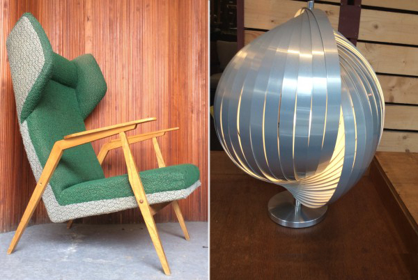 vintage czech armchair and vintage Henri Mathieu table lamp