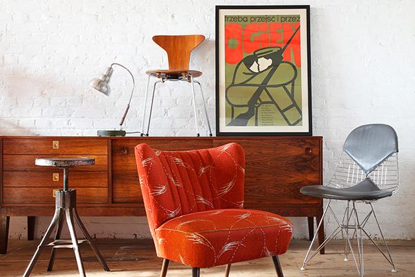 vintage furniture next to white wall