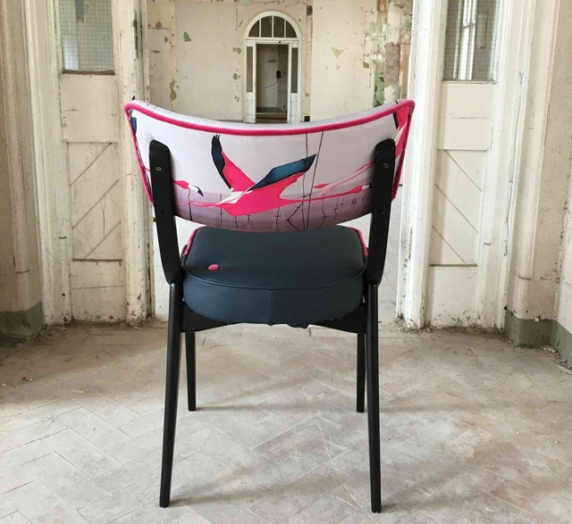 Chair upcycled with pink bird fabric by Jay Blades