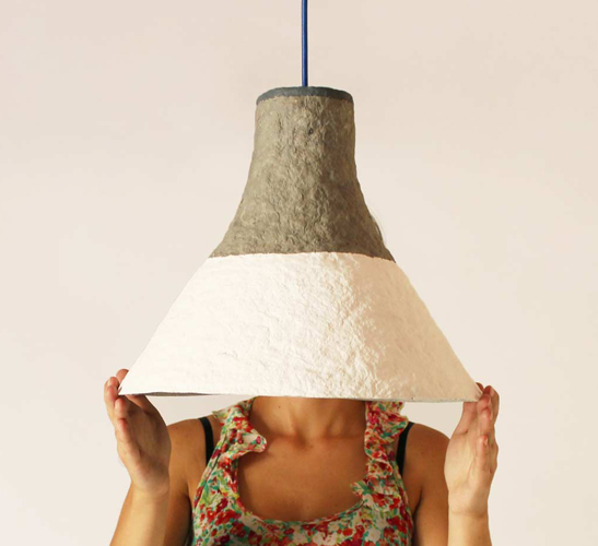 Cypisek lampshade made of paper pulp by Crea-re