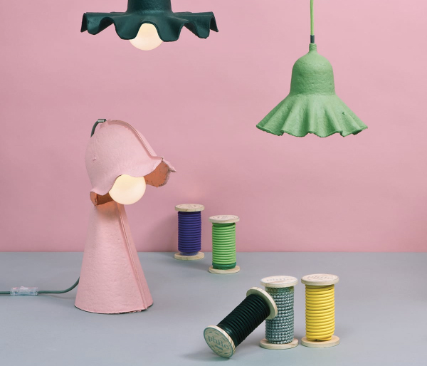 Egg of Columbus and Philo eco chic recycled egg carton lamps by Seletti