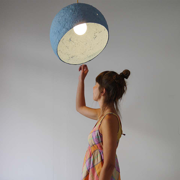Hanging blue globe lampshade made from paper pulp by Crea-re