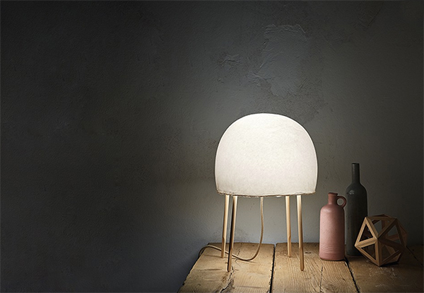 Illuminated domed lamp made from washi paper
