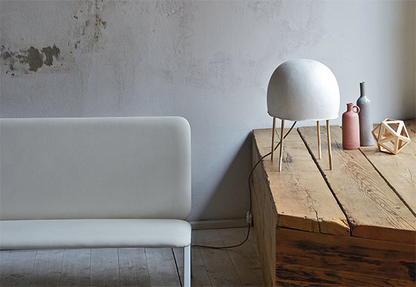 Kurage domed table lamp made from washi paper by Foscarini