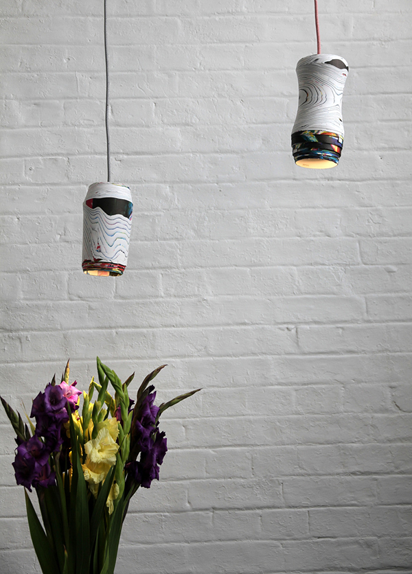 Modern pendant lights made from rolled paper by Piadesign