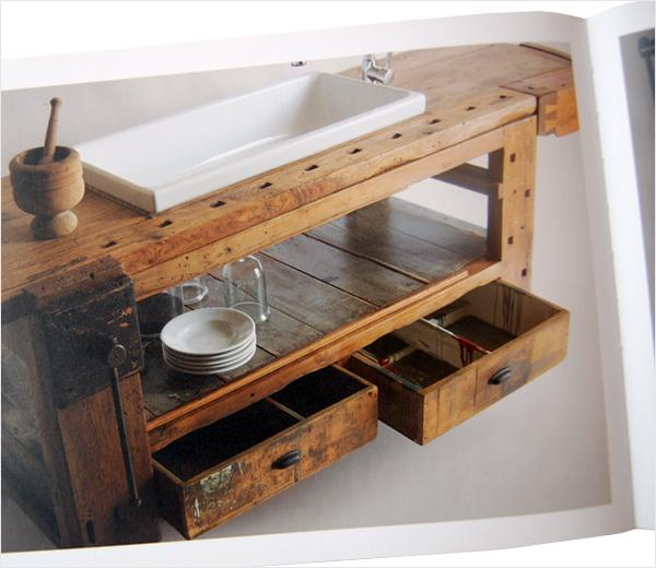 Reclaimed kitchen bench