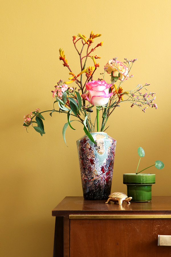 Styling flea market finds with flowers