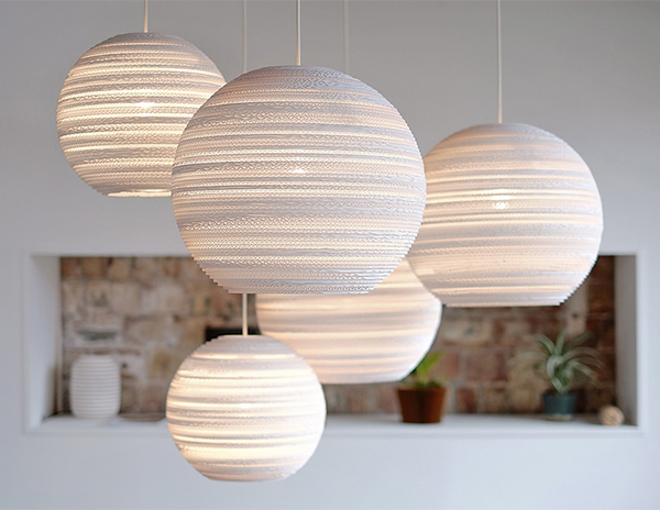White spherical eco chic lighting made of cardboard in situ by Graypants