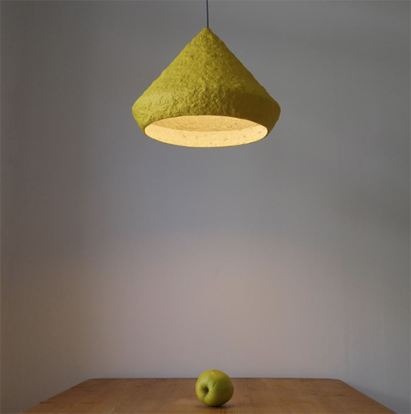 Yellow pendant lamp made from paper pulp by Creare