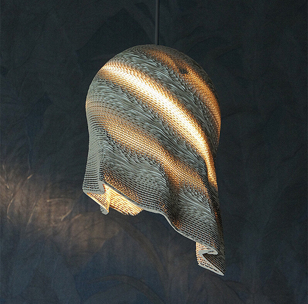 lamp made from corrugated cardboard by LetoLab