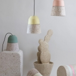 pastel coloured pendant lights made from paper pulp