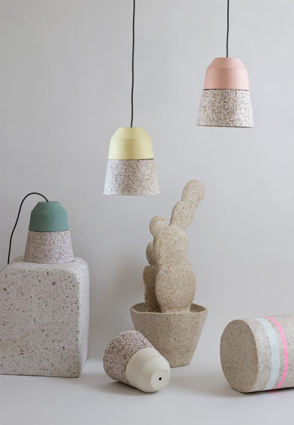 pastel coloured eco chic lighting made from paper pulp