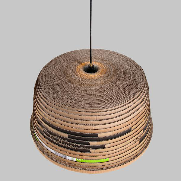pendant light made from recycled corrugated card by herrwolke