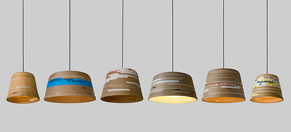 pendant lights made from recycled cardboard