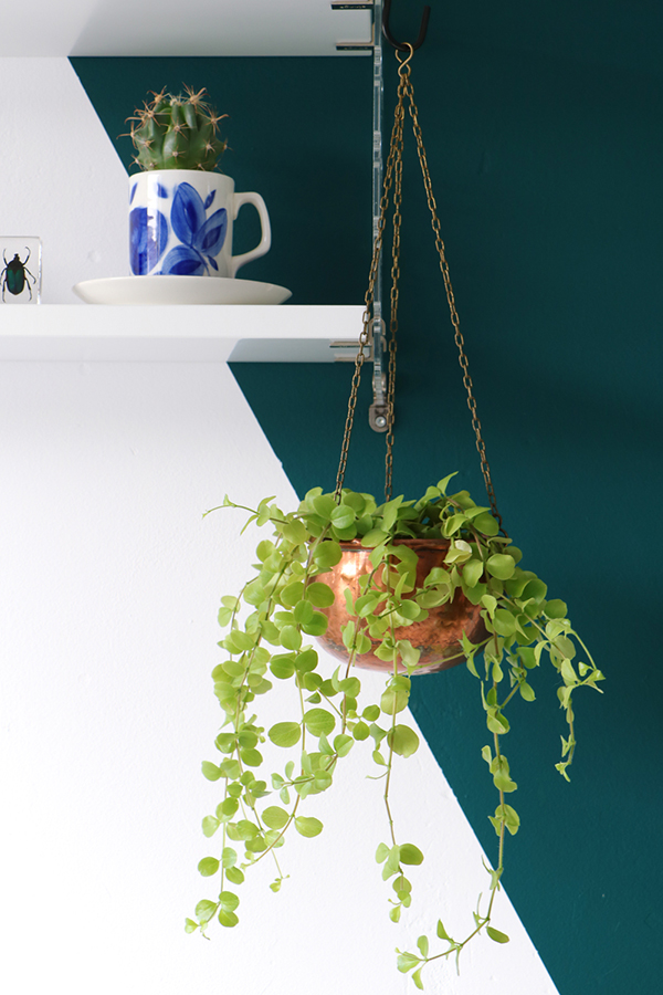 vintage copper hanging plant pot