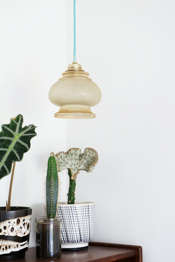 vintage pendant lamp with aqua blue cable
