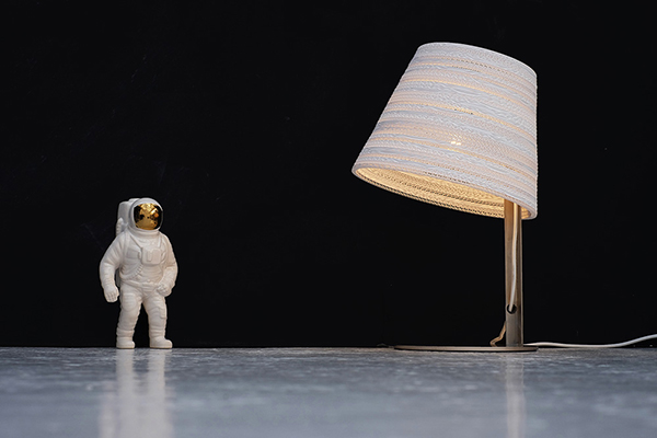 white tilt table lamp made from cardboard by Graypants