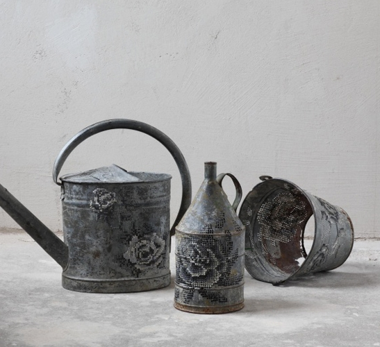 Cross stitched metal objects by Severija