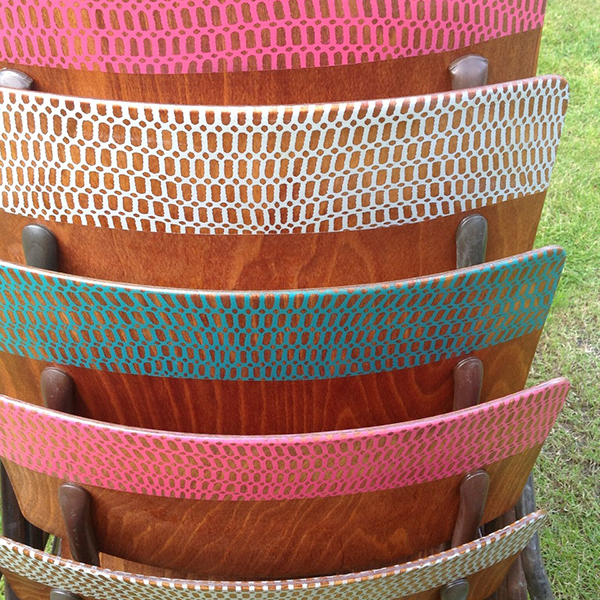 Detail of upcycled chairs by Jo Gibbs