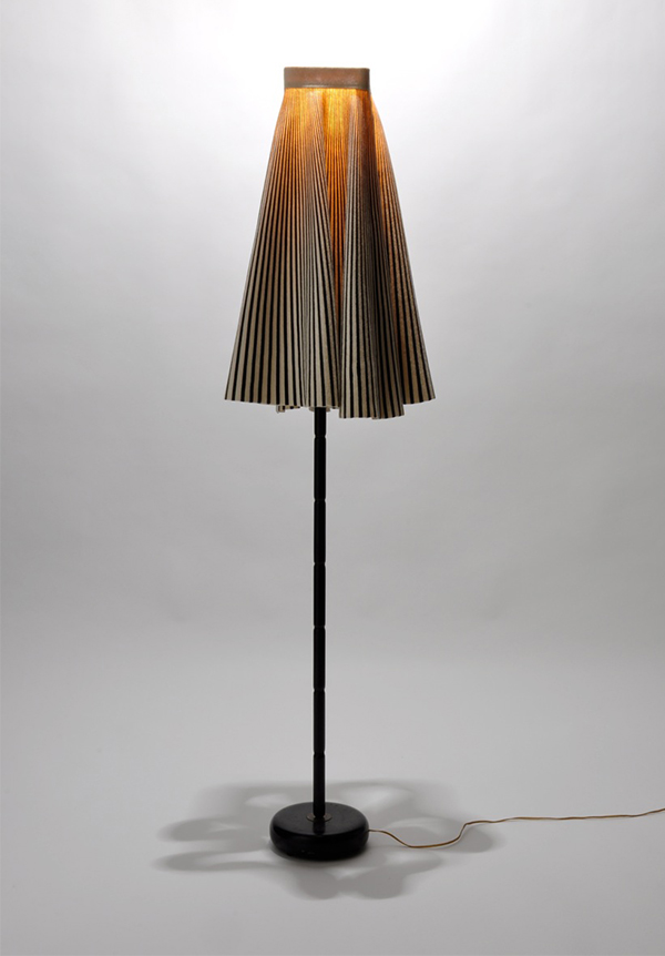 Floor lamp made from upcycled skirt