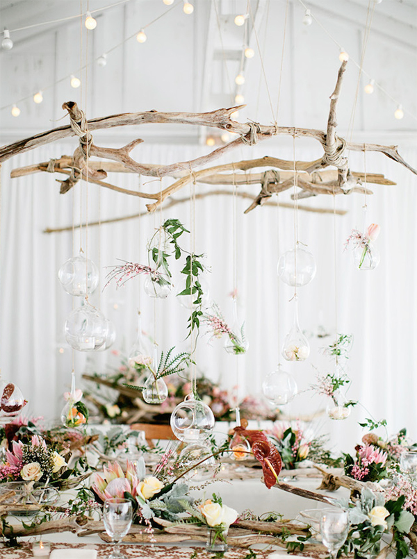 Hanging driftwood eco-friendly wedding decorations