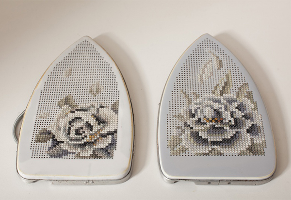 Irons embroidered with cross-stitch