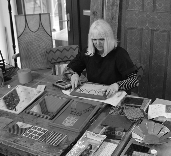 Jo Gibbs at work in her studio