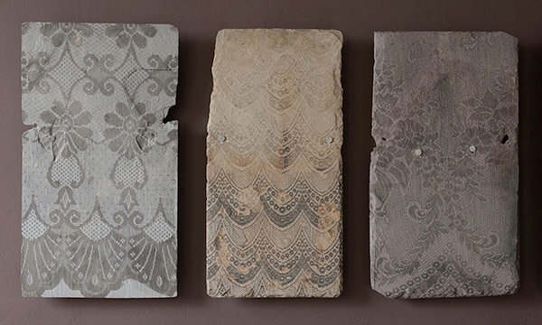 Upcycled roof slates with lace pattern by Jo Gibbs