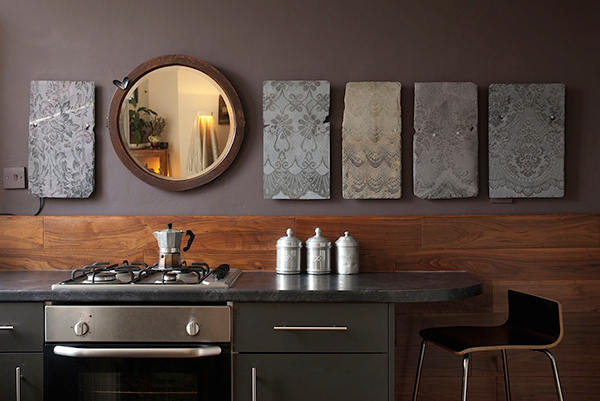 Upcycled slate tiles by Jo Gibbs in kitchen interior