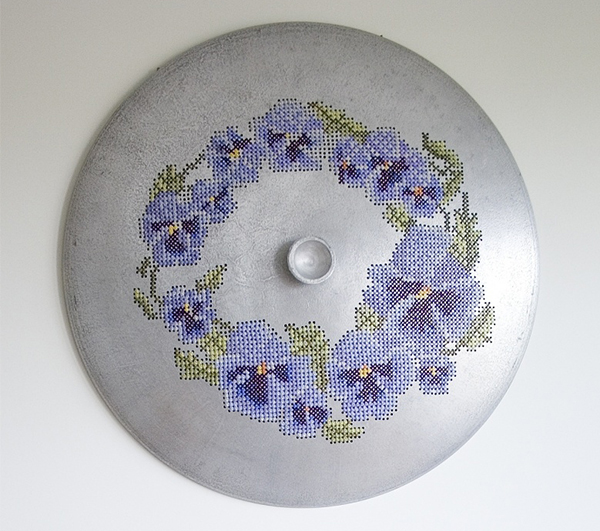 saucepan lid with cross stitch embroidery
