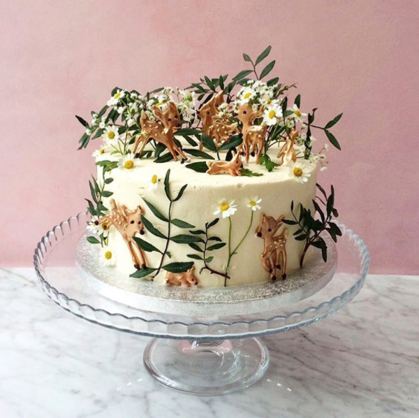 Cake decorated with deer and rabbits by Lily Vanilli