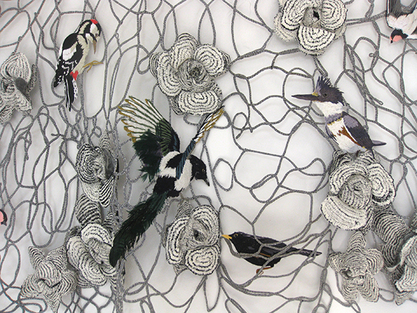 Detail of textile art with birds by Karen Nicol