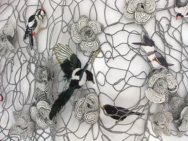 Detail of textile art with birds by Karen Nicol
