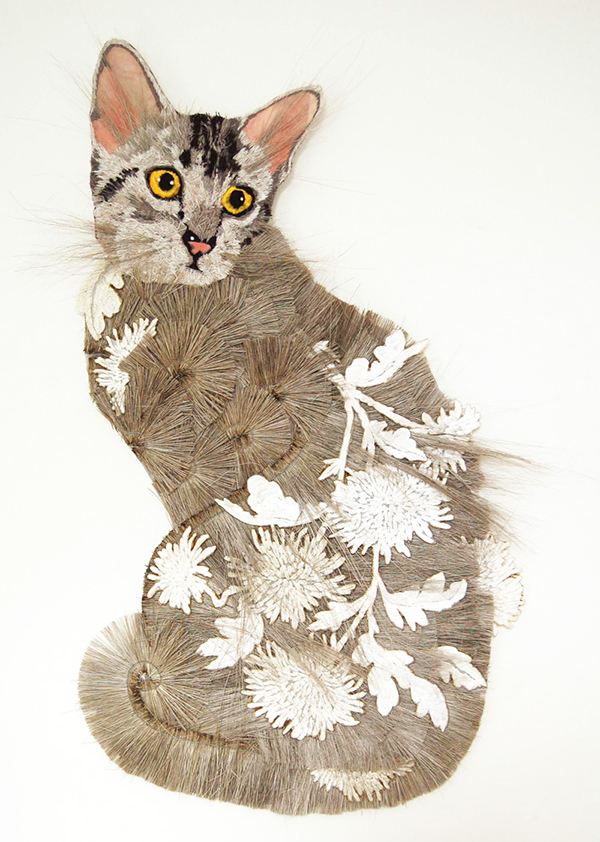 Embroidered cat textile art by Karen Nicol