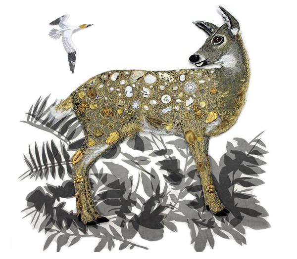 Embroidered deer by textile artist Karen Nicol