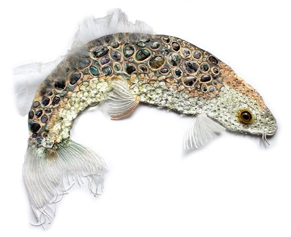 Embroidered fish art by Karen Nicol