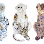 Embroidered monkeys by Karen Nicol
