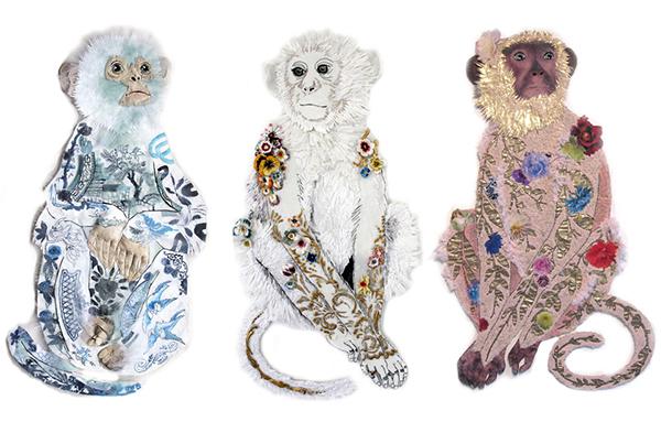 Embroidered monkeys by Karen Nicol