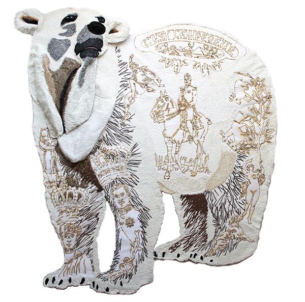 Embroidered polar bear by London textile artist Karen Nicol