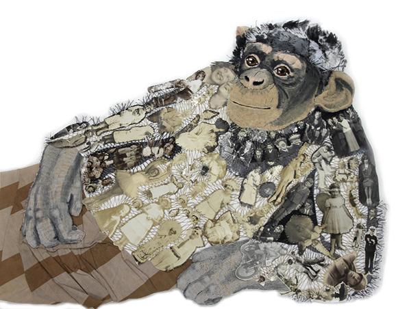 Embroidered reclining monkey by textile artist Karen Nicol